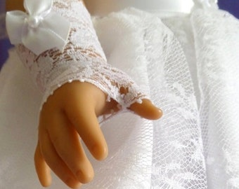 18 Inch Doll Accessories - Fingerless White Lace Doll Gloves / First Communion / Conformation / Doll Accessories / American Girl - 8000G