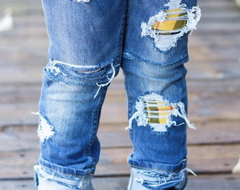 Jessie Unisex Skinnies - baby , toddler , kids -  2 Plaid Patch Options (6m-12y) girls , boys skinny jeans , patched denim jeans