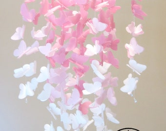 Medium Vellum Butterfly Mobile - OMBRE - Rose Pink and White