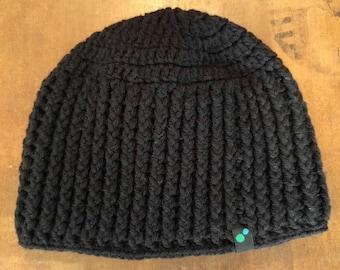 Black Crochet Beanie