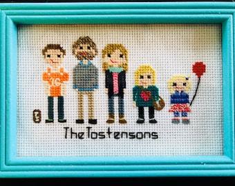 Cross Stitch Family Portraits and custom cross stitch work