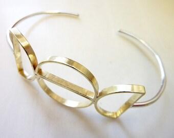 Deco Half-Circles Bracelet, Soldered Brass Semi-Circles, Geometric, Sterling Silver Wire, Everyday Gold Jewelry, Mezzaluna Cuff