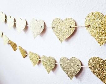 Gold Heart Garland   Gold Bridal Shower Garland   Gold Glitter Heart Garland   Gold Wedding Heart Garland   Glitter Heart Garland  