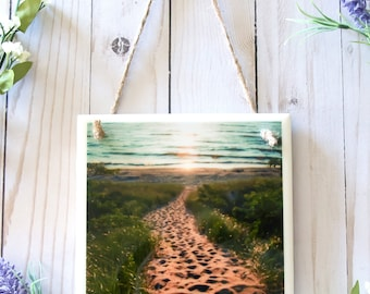 Tile signs, Lake Michigan wall art photography, ceramic tile art, tile wall hanging ceramic, wall signs, ceramic tile wall art decor