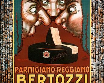 Bertozzi Parma Cheese Noses, Vintage Cheese Ad, Parmigiano Reggiano, Vintage Art, Giclee Art Print, fine Art Reproduction