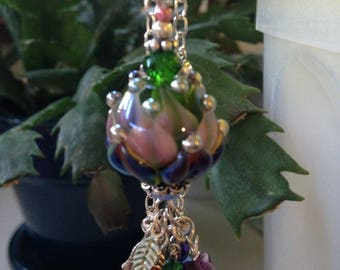 Hand Made Glass Bead with Crystal Pendant Necklace