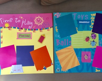 Scrapbooking, Time to Play, 12x12 premade scrapbook page, Made to order