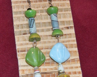 Vintage glass and paper bead earrings