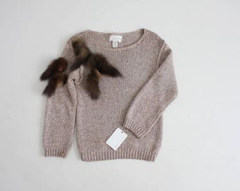 silk sweater | fur sweater | taupe sweater