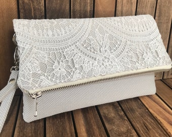Lace, Linen & a Little Leather Bridal Clutch, Bridal clutches, Bridesmaid gift, Wedding gift, Vintage Wedding, Bridesmaid clutch