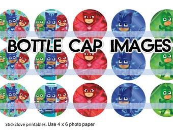 """PJ MASKS printables  4x6 - 1"""" circles, bottle cap images, pjmasks mask"""