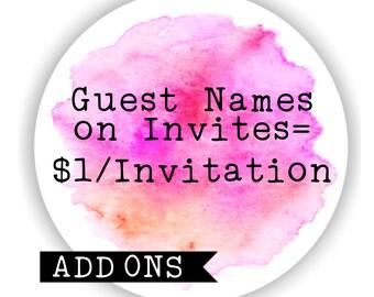 Invitation add ons
