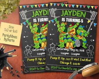 Invitations TMNT Birthday Invitation, Teenage Mutant Ninja Turtles Invitation, TMNT Birthday Party,  Printable, Chalkboard, Digital File