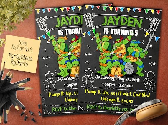 Invitations TMNT Birthday Invitation Teenage Mutant Ninja