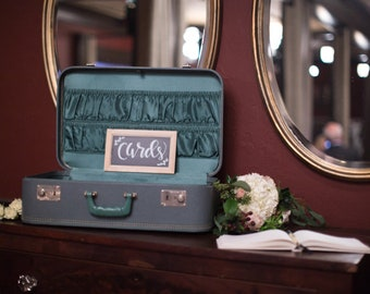 Vintage Green Air Pak Suitcase Wedding Decor Wedding Cards Petersburg Virginia Vintage Luggage for Wedding Decor Sexy Travel