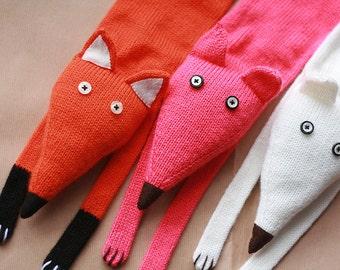 Fox scarf  - Kids Red Fox scarf - Toddlers Fox knitted scarf - Knitted scarf - Child scarf - Knitted baby scarf - Knit scarf