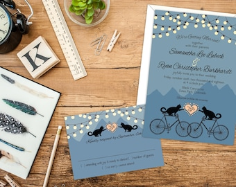 Cats on Bikes in the Mountains Wedding or Elopement Reception Invitations, RSVP Cards or Post Cards, Fun Whimsical Invitations