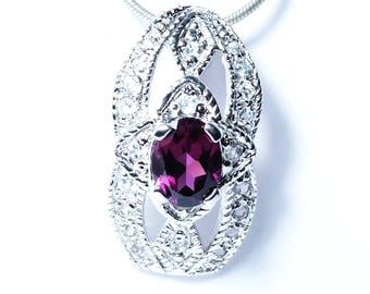 1.89 Carats Rhodolite & White Topaz 925 Sterling Silver Pendant Fine Jewelry
