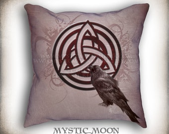 Celtic Crow... Crow with Celtic Knot Pillow Art... PILLOW with Insert... Black Raven with Triquetra... 18x18 Inch