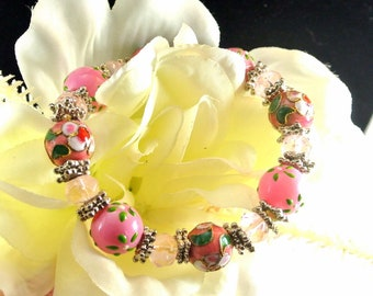 Painted Pink Glass Bead Stretch Bracelet Floral Pink 12mm Bead Bracelet Vintage 80 Bracelet Handpainted Beads Pink Bead Bracelet