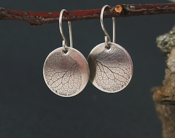 Silver Hydrangea Earrings, Hydrangea Petal Earrings, Preserved Nature Jewelry