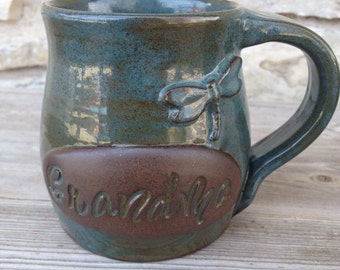 Grandma Pottery Mug with Dragonfly