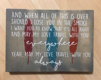 Handpainted sign etsy tom petty have love will travel song lyric wood handpainted sign feather decor stopboris Choice Image