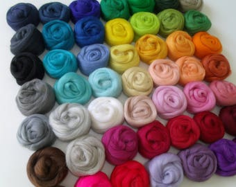 "Wool felting or spinning Merino Lot 49 ""Multicolor"" colors + 1 free"