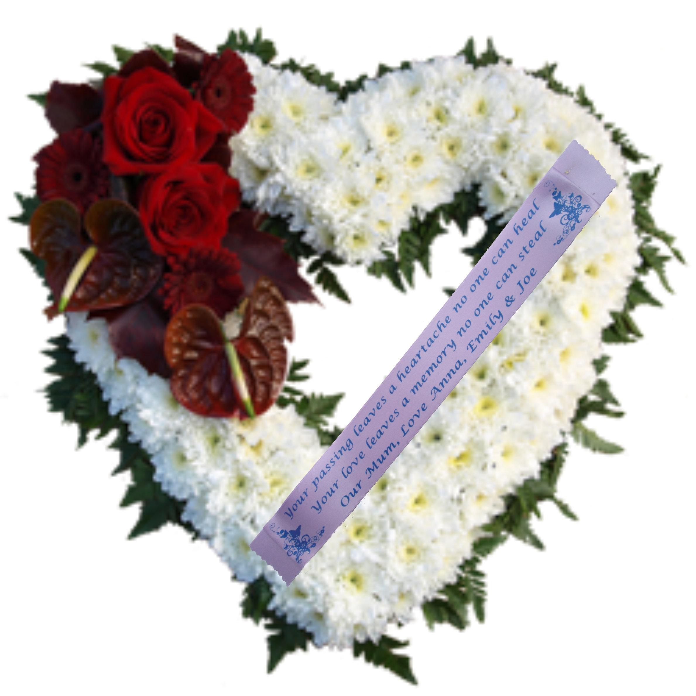 Persinalised Funeral Ribbon 45mm Wreath Memorial Tribute
