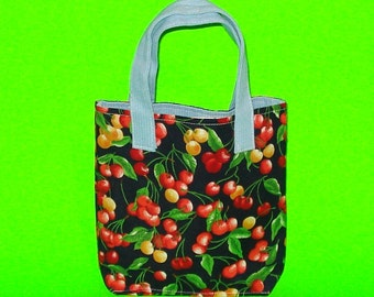 LAST ONE! King Cherry Red and Blue Rockabilly Classic Bucket Handbag Printed Purse Tote