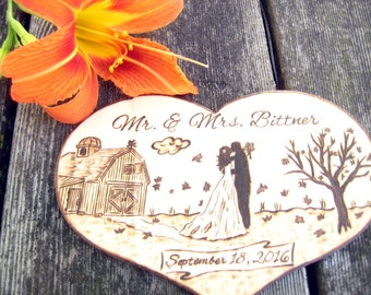 Autumn wedding cake topper, Country wedding, Rustic, BARN WEDDING, Fall Wedding, Autumn leaves, Silhouette, Unique wedding gift Personalized