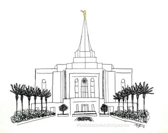 LDS Gilbert Temple- pen and ink PRINT