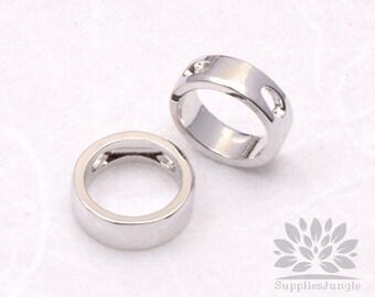 P551-01-S// Rhodium Plated 8mm Simple Circle Pendant, 2 pcs