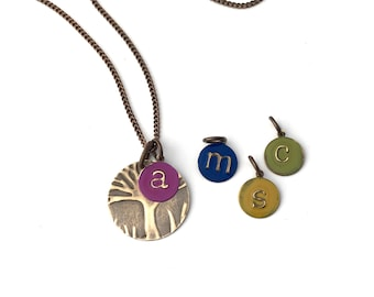Birthstone Initial Family Tree Necklace |Small Custom Made Necklace |Personalized Jewelry for Mom |Bright Colorful Gift in Birthstone Colors
