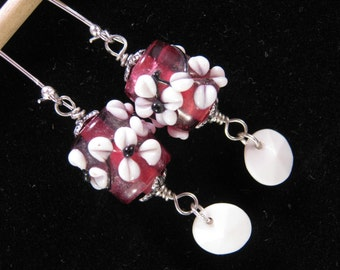 Vintage Earrings, Lampwork, Glass, Hand Made, Pink, Silver, White, Hand Wired, Jennifer Jones, Upcycled, Pierced, OOAK - Flower Girl