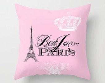 Pink Paris pillow -  Bonjour Paris throw pillow, Eiffel Tower, girlie, crown, throw pillow, home, decor, designer, travel theme