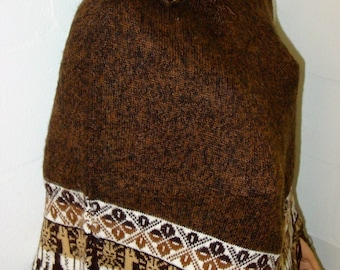 Peruvian 100% Alpaca Wool Poncho Cape Top Very Soft Brown