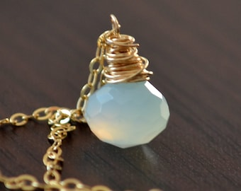 Pale Aqua Necklace, Pastel Blue Chalcedony, Gemstone Onion, Wire Wrapped, Gold Filled, Simple Jewelry, Free Shipping