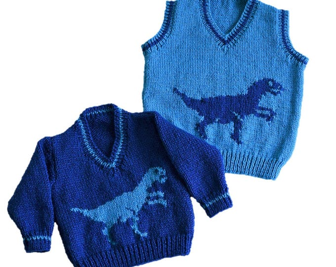 Knitting pattern for boys and girls dinosaur V-neck tops, Pdf instant download, Dinosaur Sweater, Children's double knitting jumper pattern