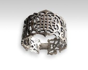 Sterling Silver Band, wide filigree ring, boho ring, oxidized silver band, simple band, gypsy ring, thumb ring, unique ring - Vertigo R2215