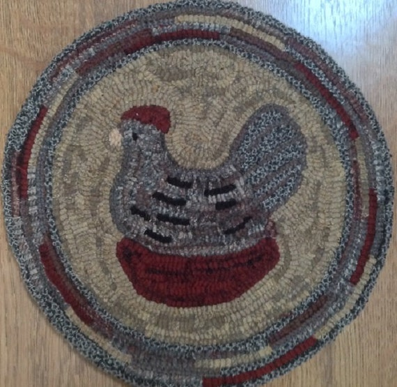 """Rug Hooking Pattern for """"Harriet"""" Chair Pad, on Monks Cloth or Primitive Linen, P110"""