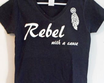 Rebel with a cause  Ladies V-neck T-Shirt