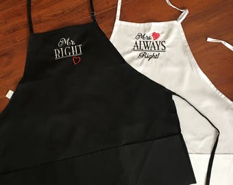 Mr Right and Mrs Always Right Aprons