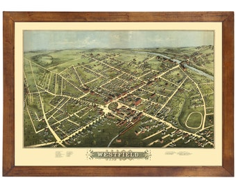 Westfield, MA 1875 Bird's Eye View; 24x36 Print from a Vintage Lithograph