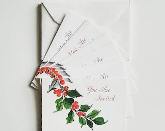6 Vintage Hallmark Invitation Cards / Stationary / Holiday / 1960s / 1970s