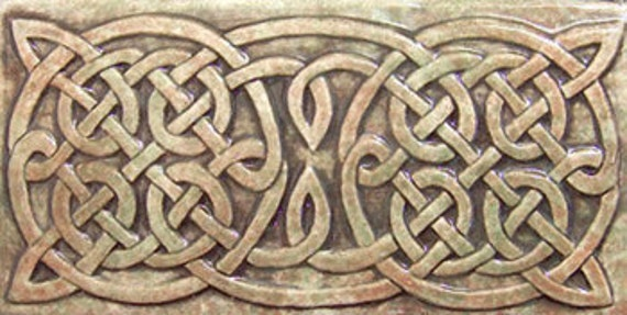 Relief Carved Celtic Ceramic Art Tile Border
