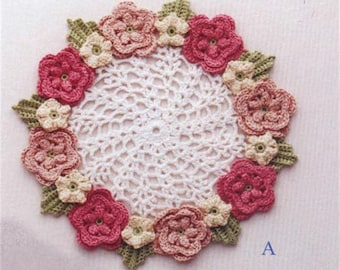 2 Multicolored Flower Lace Crochet Doily Pattern Instant Download English Tutorial Instruction