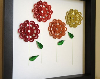 Glitter Flowers, 3D Paper Art, personalized with your desired name