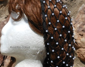 Hair Snood Renaissance Victorian Beaded Black Hair Net Hat Pearl Beads Shoulder Length Hair  to 4-5 inches BELOW Shoulders