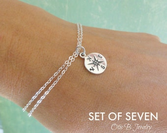 SET OF SEVEN Compass charm bracelets, Compass bracelets, best friend gifts, bridesmaid gifts, bridesmaid thank you, wedding jewelry, sisters